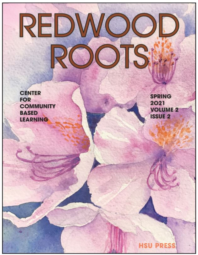 Redwood Roots Digital Magazine cover pictured rhododendron flowers